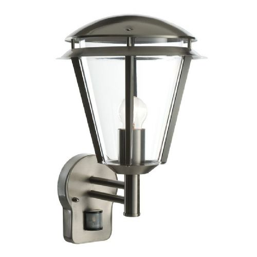 Brushed stainless steel & clear Polycarbonate PIR Sensor Light 49945 by Endon